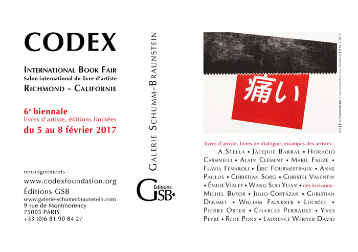 "carton d'invitation de la galerie Schumm-Braunstein pour l'exposition ""Codex"" 2017  à Richmond, Californie"